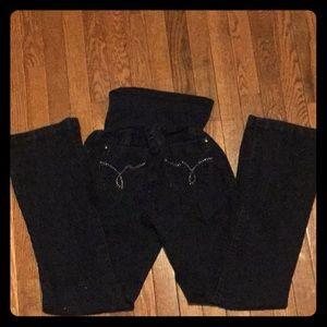 Large Maternity Jeans: rhinestones on back pocket